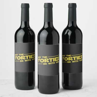 May the Forties Be With You wine bottle labels