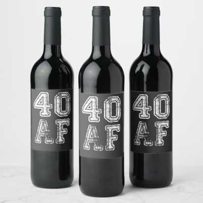 40 AF wine bottle labels