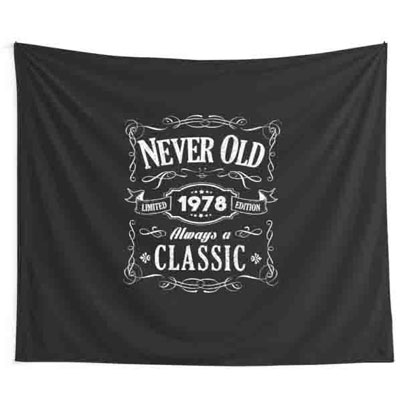 Jack Daniels style Never Old backdrop wall tapestry