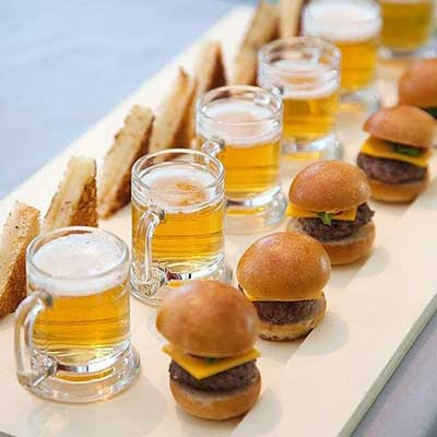 party food beer shots and sliders
