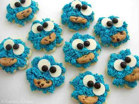 sesame street birthday party cookie monster cookies