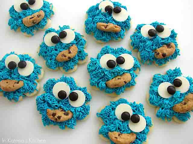 sesame street birthday party cookie monster cookies