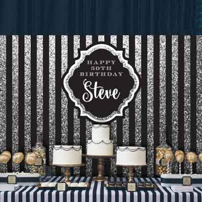 milestone birthday backdrop silver stipe