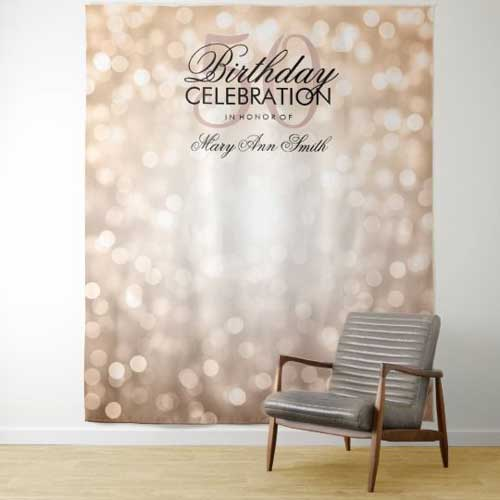 50th birthday tapestry backdrop gold sequins