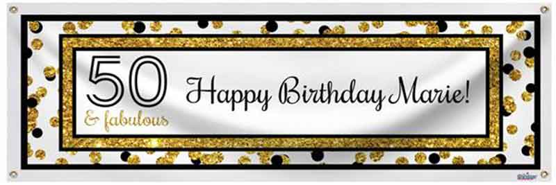 personalized 50th birthday banner
