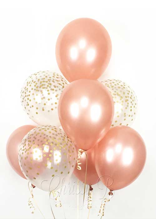 rose gold and clear confetti balloons