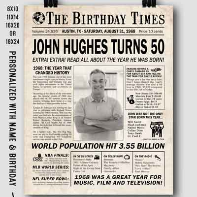 50th birthday facts poster