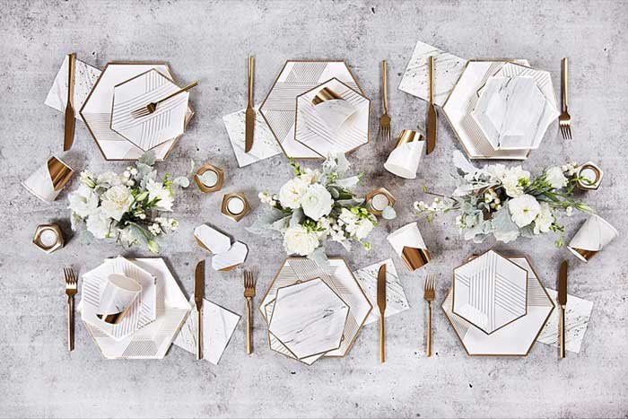white striped & marble disposable tableware