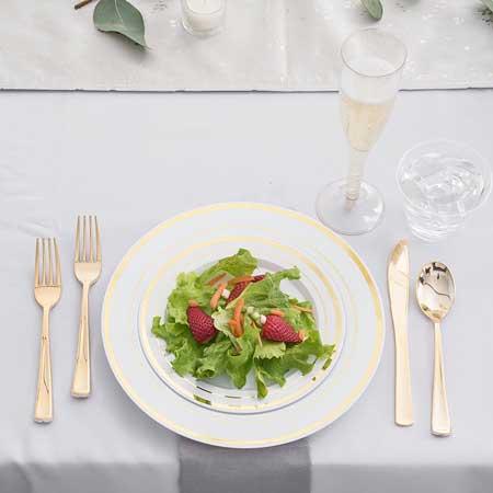 gold premium plastic tableware