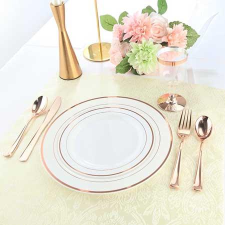 rose gold premium plastic tableware