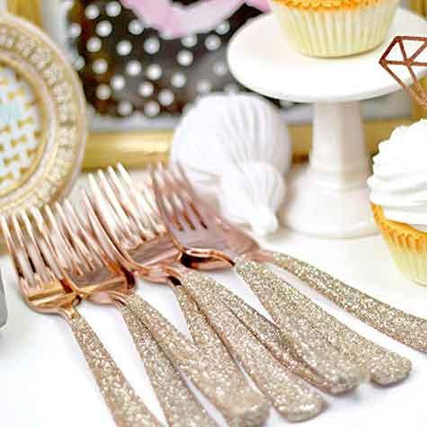 rose gold glitter premium plastic cutlery