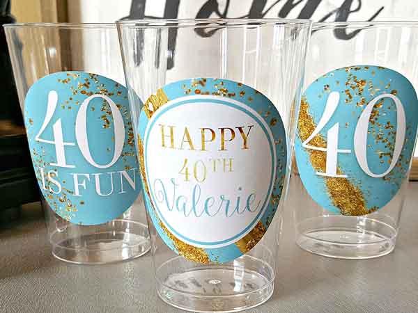 milestone birthday plastic cups