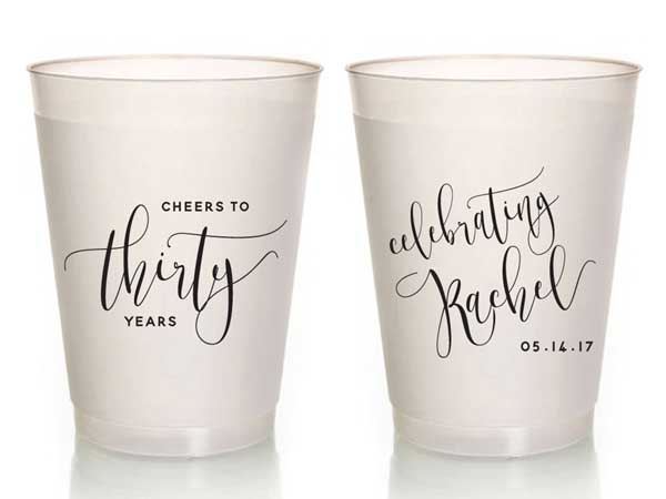 personalized milestone birthday plastic cups