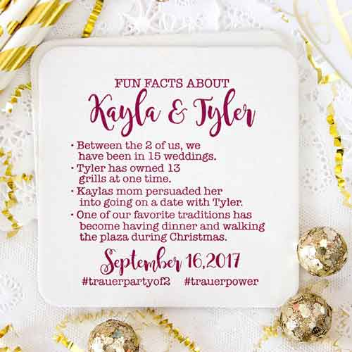 personalized fun facts paper cocktail napkins