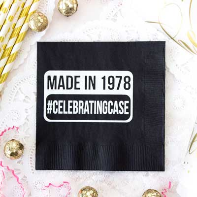 made in....50th birthday party napkins