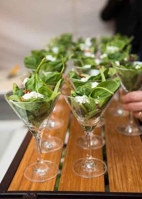 salads in martini glasses