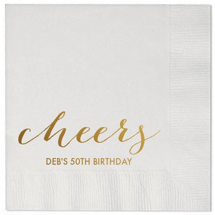 personalized paper cocktail napkins cheers 50th birthday