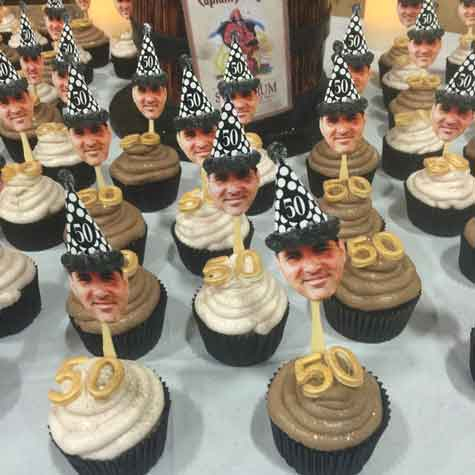 50th birthday party photo cupcake toppers