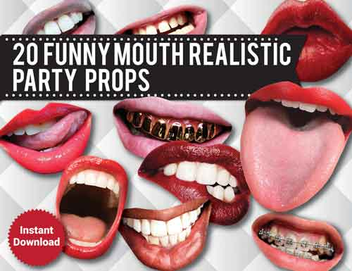 funny mouth photo booth props