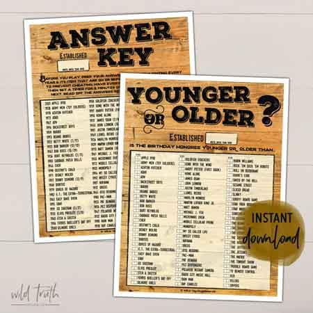 Younger or Older game