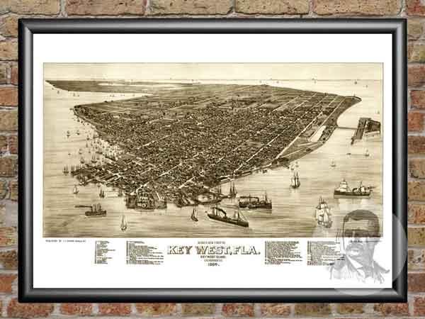 framed vintage city maps