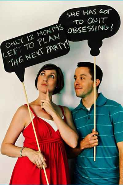 birthday party photo booth speech bubbles