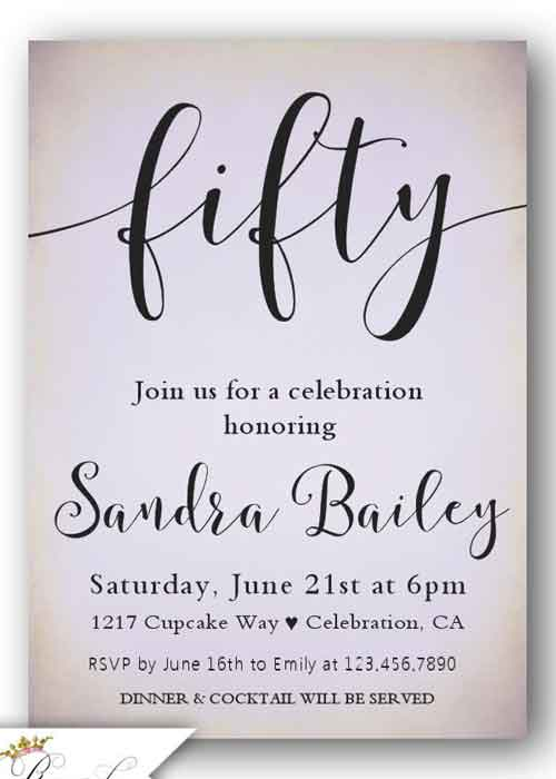 The Best 50th Birthday Invitations By A Professional Party Planner