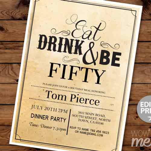 eat, drink & be 50 invitation