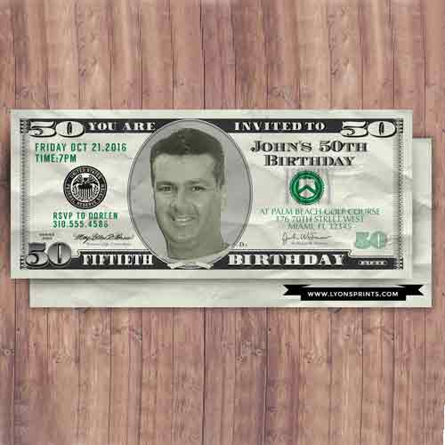 custom 50 dollar bill invitation