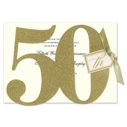 glitter 50 invitation