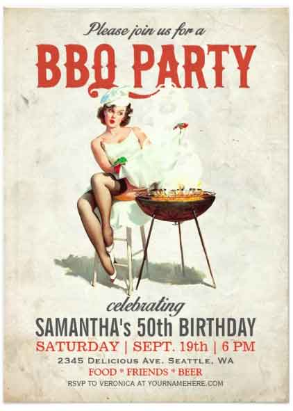 retro BBQ invitation