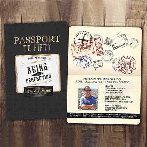 50th Birthday Party Passport Invitation