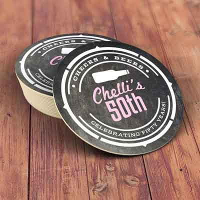 Cheers and Beers 50th birthday coasters