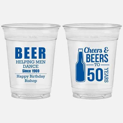 Cheers and Beers to 50 years custom party cups