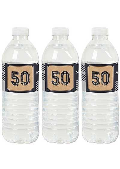 Aged to Perfection 50th birthday water bottle labels