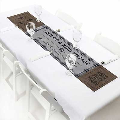 Aged to Perfection 50th birthday table runner