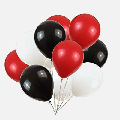 black silver blue balloons