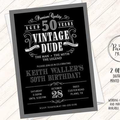 Vintage Dude 50th birthday invitation
