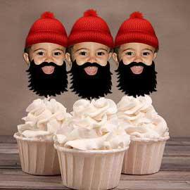custom photo lumberjack cupcake toppers