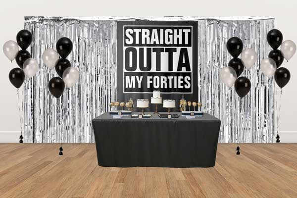 Straight Outta My Forties dessert table