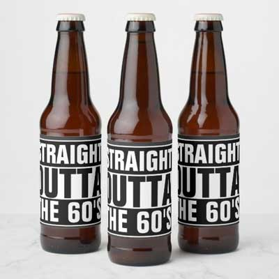 Straight Outta The 60's beer bottle labels