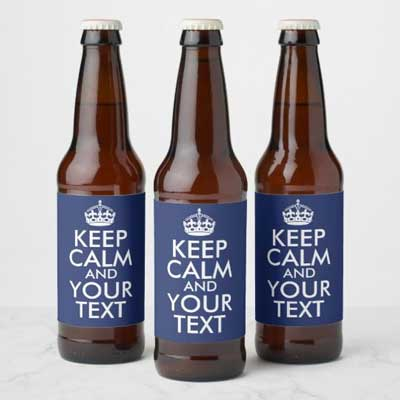Custom Keep Calm beer bottle labels