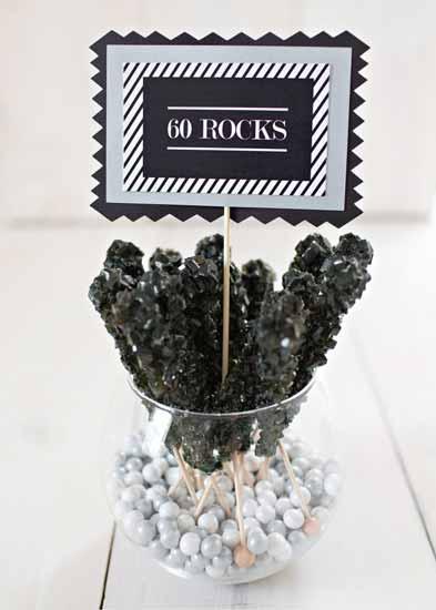 60 rocks candy buffet sign