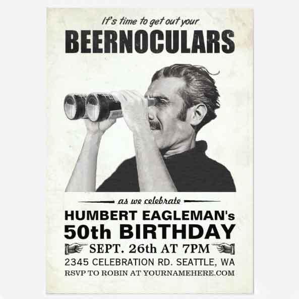 retro style 50th Birthday Invitation