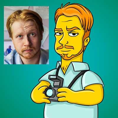 Simpsons-style cartoon caricature portraits