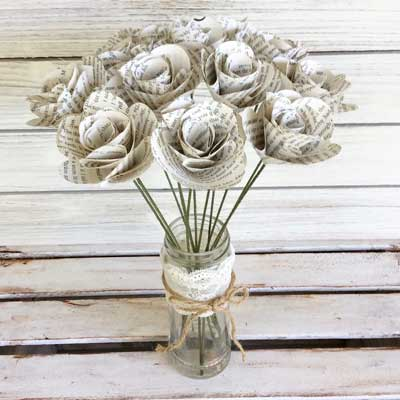 classic book flower bouquets