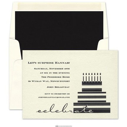 elegant invitation birthday cake