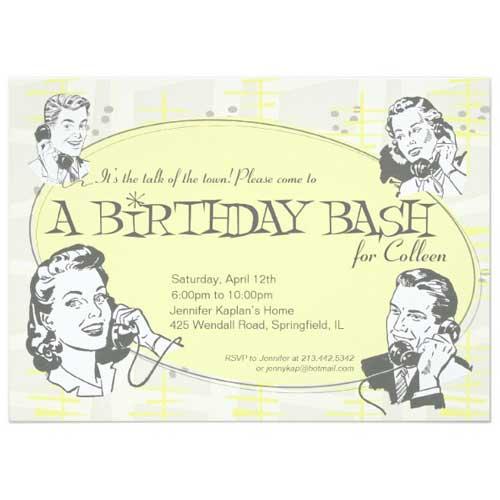 retro 1950s style invitation