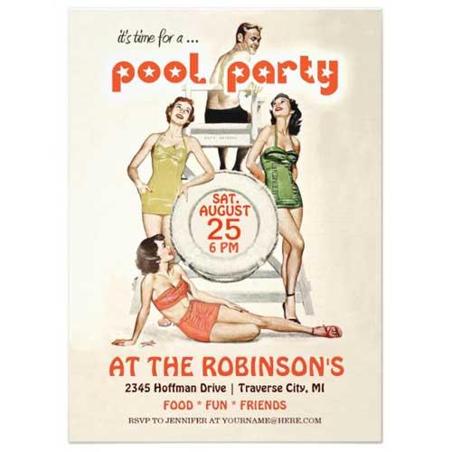 retro pool party invitations