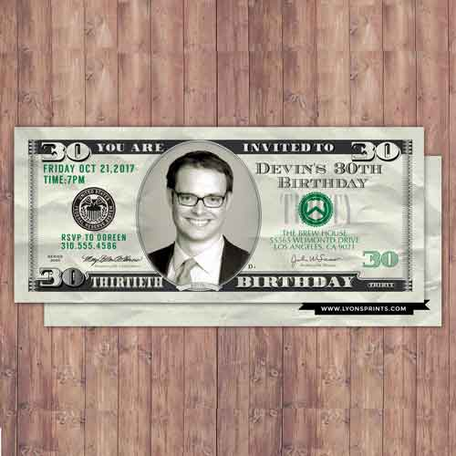 custom dollar bill invitations